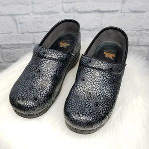 Dansko Silver & Black Patterned Clogs